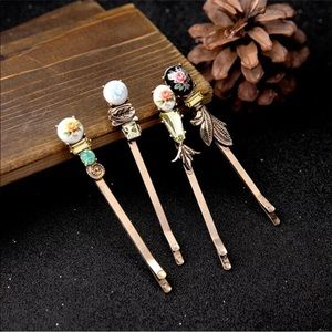 Flower enamel Hair pins Antique style set of 4 new